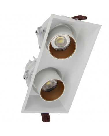 Downlight Spot LED COB Orientable Dimmable Rectangle Blanc/Doré 2x9W 120°