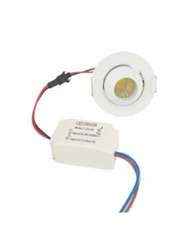 Mini Spot LED Encastrable 3W COB 45° Orientable Rond