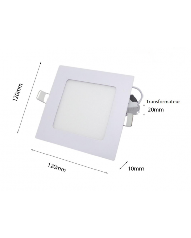 Downlight Dalle LED 6W Extra Plate Carrée BLANC