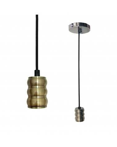 Suspension Ampoule E27 Brossé Cylindrique BRONZE