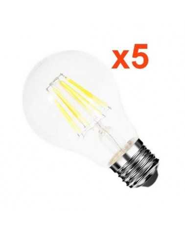 Ampoule LED E27 Filament 6W 220V COB 360° (Pack de 5)