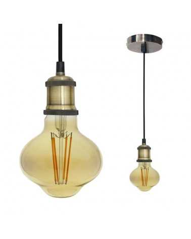 Kit Suspension Luminaire Bronze avec Ampoule E27 LED Filament 8W