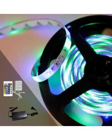 RGB LED Strip Kit 12V 5050 30LED / m (incl. Controller + Power Supply)