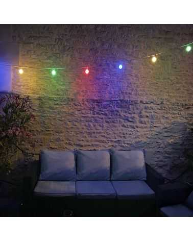 Guirlande Guinguette LED 13M 20pcs 6W IP65 Blanc Chaud - Câble Blanc