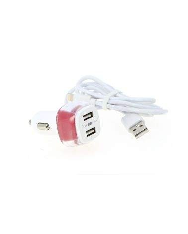 Chargeur Allume-Cigare 2 ports USB 2.4A + câble iPhone