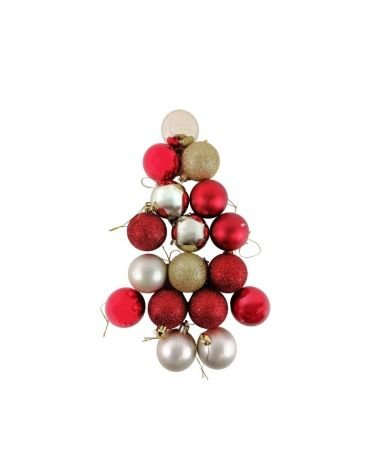 Boules de Noël 17 pcs OR / ROUGE Ø5cm