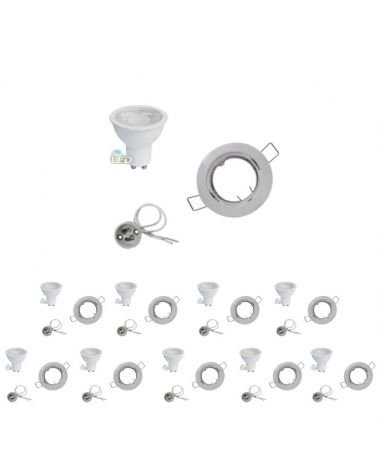 Kit Spot LED GU10 recessed 8W Round Swivel WHITE (Pack of 10)