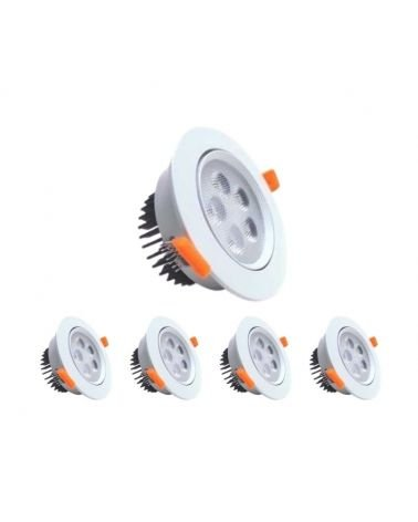 Spot LED Round 5W Built 80 ° Swivel (pack of 5)
