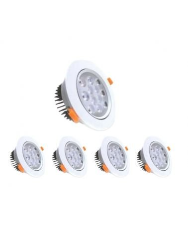 Spot LED Round Recessed Adjustable 12W 80 ° (pack of 5)