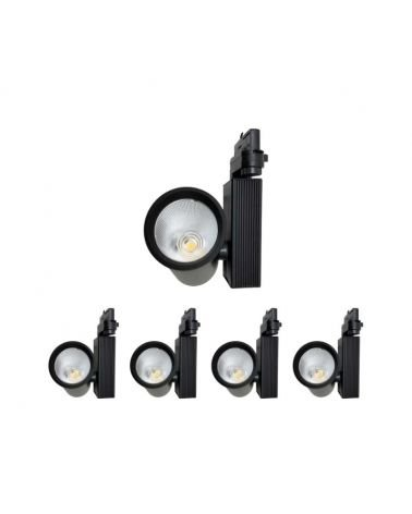 Spot LED Rail 35W COB 80 ° Three phase BLACK (Pack of 5)