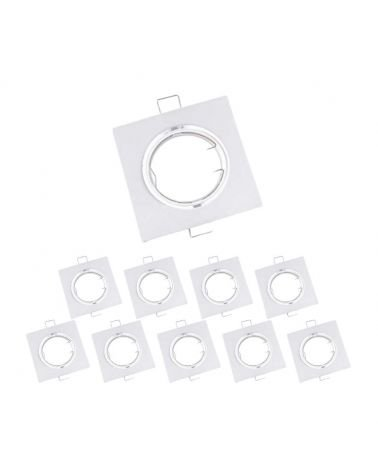 Support Embedded Lamp GU10 LED Adjustable Square WHITE (Pack of 10)
