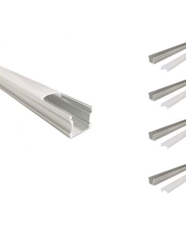 Aluminum profile for LED Ribbon 1m - Opaque Cover (Pack of 5)