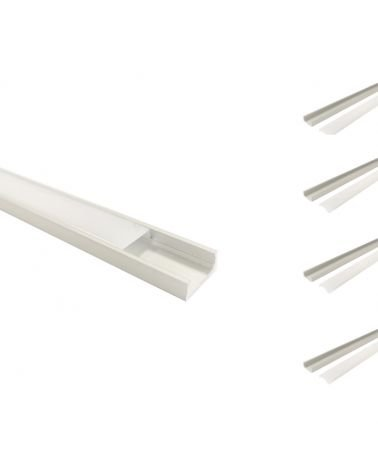 2m Aluminum profile for LED stripe - Reflector Opaque (pack of 5)