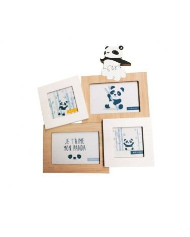 Photo Frames for 4 photos 8x8 and 9x14 cm Panda wood