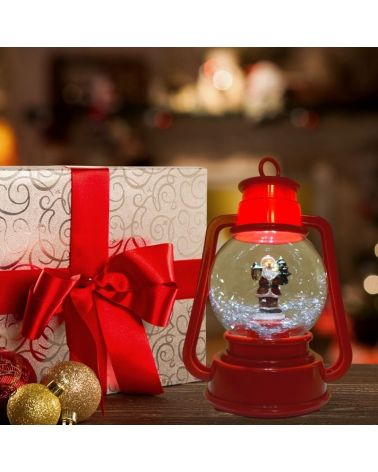 Lantern Christmas light and music-ball blow snow - 23cm H.