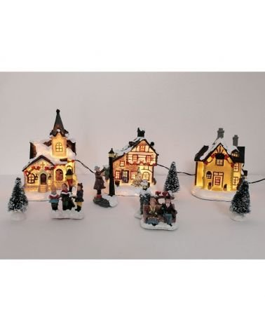 LED light Christmas village, set of 12 pieces