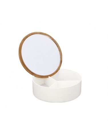 Mirror box with 3 bamboo compartments 14x5cm approx.