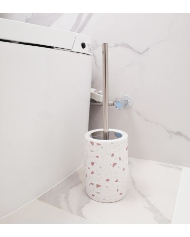 Ceramic and stainless steel toilet brush - Terrazzo Print