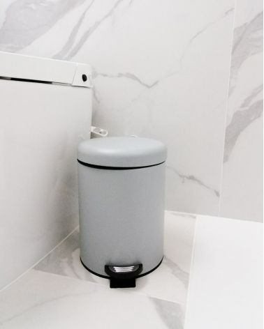 Matte metal pedal garbage can - Uni color