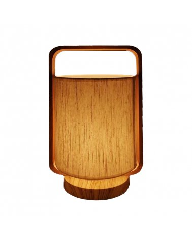 Wood effect table lamp with linen shade H33 cm.