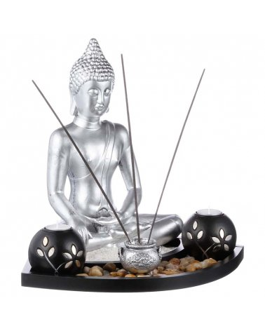 Decorative Buddha with Photophores and Plateau Incense