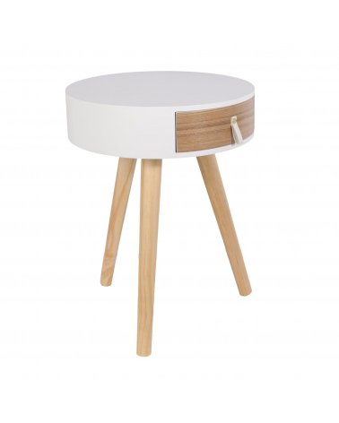 White Round Wood Bedside Table with Drawer