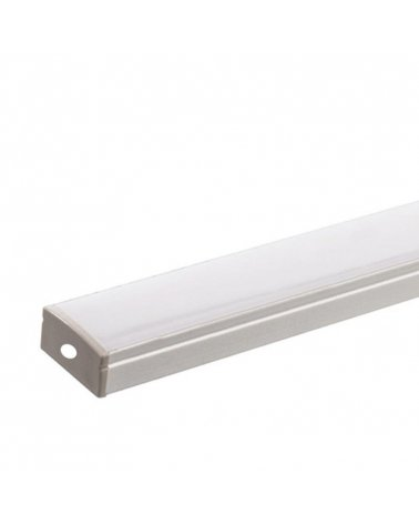 2m Aluminum profile for LED Ribbon Double Row - Opaque cover WHITE