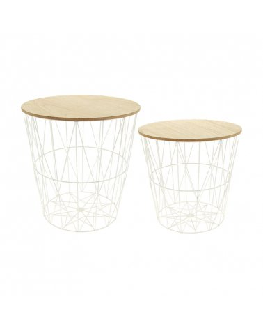 Side table with white removable lid Ø38cm with pine wood legs