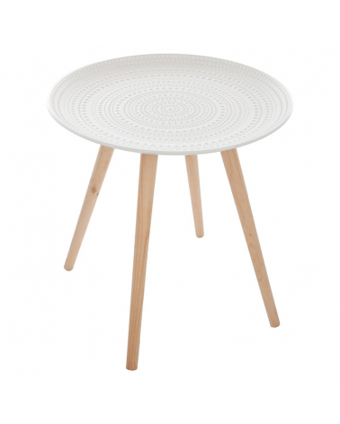 Table d'Appoint Ronde Relief Pied en Pin 49x42 cm