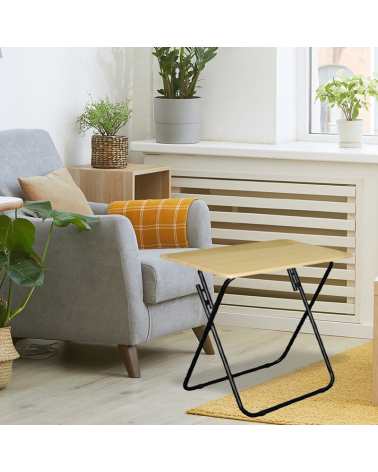 Wooden and Metal Folding Side Table 70x50x75 cm