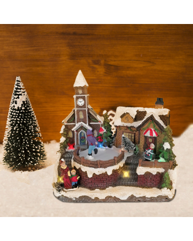 bright Christmas Village with rotating Animation