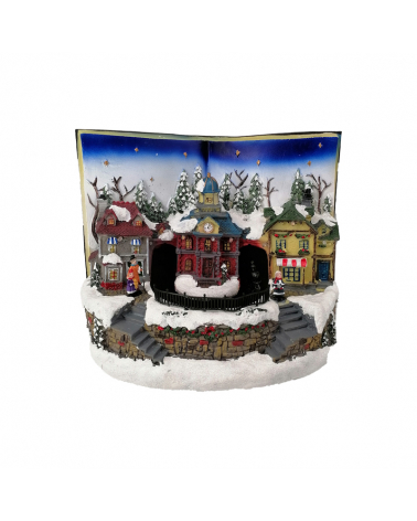 Christmas Village Led Musical in a book 29x18x22cm