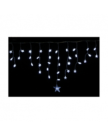 Garland Curtain Stalactite 128 stars 8 modes with timer - cold white
