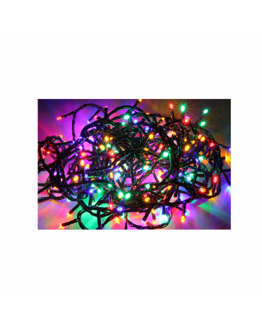 LED Garland Flashing 15m 300LED IP44 with Timer - Multicolor Green Cable
