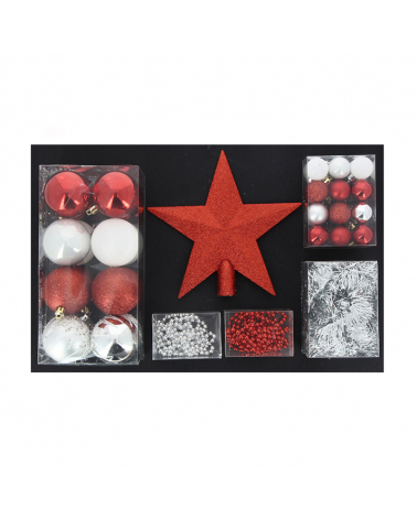 Christmas Ball Kit & Red / Silver Climstand - Set 44pcs