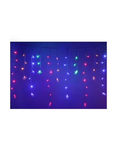 Bright curtain 100LED with stars IP44 2x 0.7m - multicolor